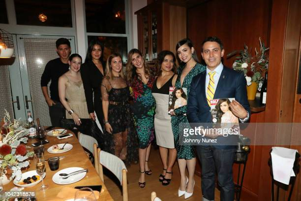 Sylvia Banderas Frida Torresblanco Sofia Carson and Gabriel RiveraBarraza pose with guests at the HOLA USA VIP Dinner Celebration for October Cover...