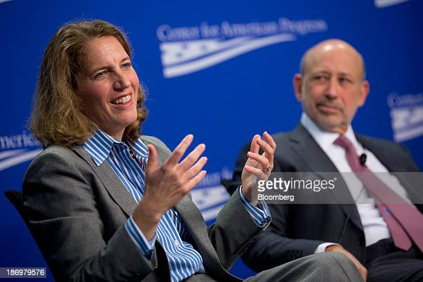 Sylvia Burwell director of the Office of Management and Budget left and Lloyd Blankfein chief executive officer of Goldman Sachs Group Inc...