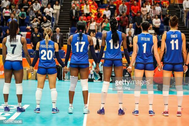 Sylvia Chinelo Nwakalor Beatrice Parrocchiale Miryam Fatime Sylla Paola Ogechi Egonu Serena Ortolani and Anna Danesi of Italy line up prior to the...