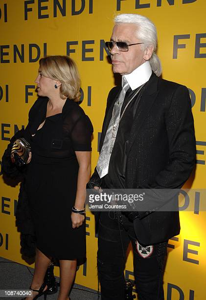 Sylvia Fendi and Karl Lagerfeld during Fendi New York City Flagship Store Opening - Inside at Fendi Flagship Store in New York City, New York, United...
