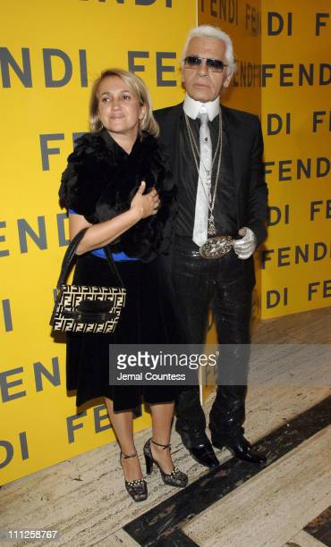 "Sylvia Fendi and Karl Lagerfeld during Fendi Presents ""The All Hollows Eve Party"" at 25 Broadway in New York City, New York, United States."