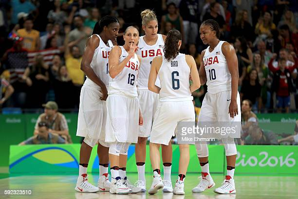 Sylvia Fowles Diana Taurasi Elena Delle Donne Sue Bird and Tamika Catchings of United States talk on the court in the fourth quarter during the...