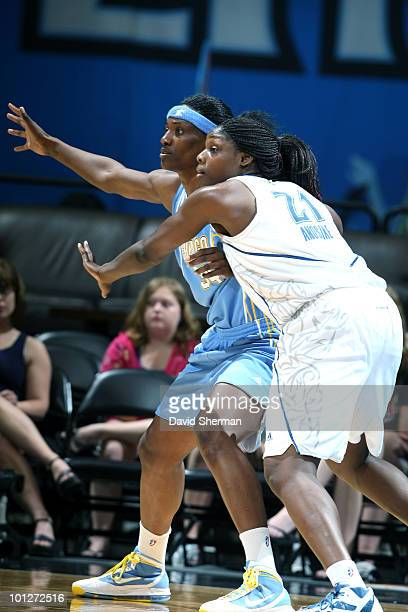 Sylvia Fowles of the Chicago Sky calls for the ball against Nickiy Anosike of the Minnesota Lynx during the game on May 29 2010 at the Target Center...