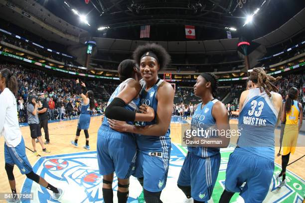 Sylvia Fowles of the Minnesota Lynx celebrates a win against the Chicago Sky on September 1 2017 at Xcel Energy Center in St Paul Minnesota NOTE TO...