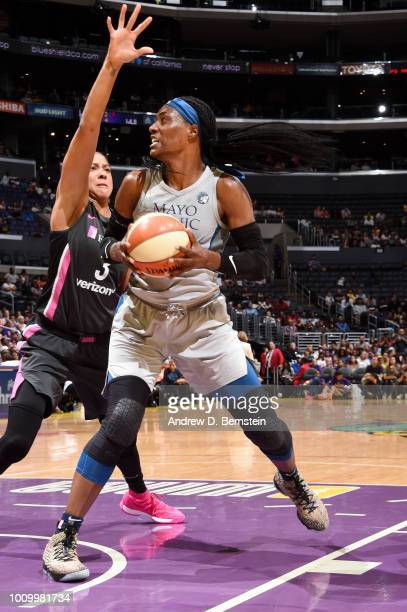 Sylvia Fowles of the Minnesota Lynx handles the ball against the Los Angeles Sparks on August 2 2018 at STAPLES Center in Los Angeles California NOTE...