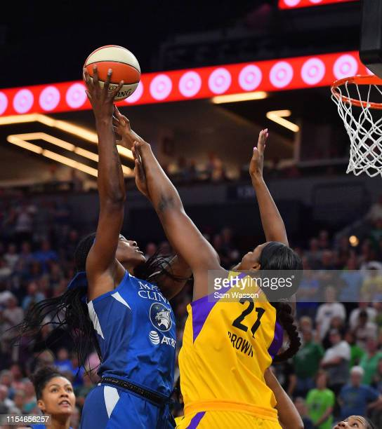Sylvia Fowles of the Minnesota Lynx shoots against Kalani Brown of the Los Angeles Sparks during their game at Target Center on June 08 2019 in...