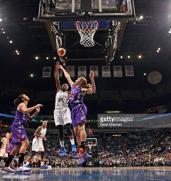 Sylvia Fowles of the Minnesota Lynx shoots the ball against the Phoenix Mercury during Game One of the WNBA Western Conference Finals on September 24...