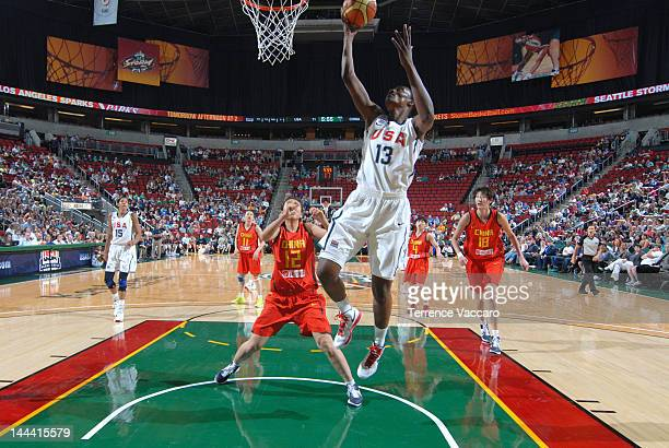 Sylvia Fowles of the Team USA goes to the basket during the international exhibition game between the 2012 USA Basketball Women's National Team and...