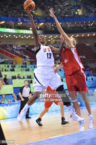 Sylvia Fowles of the U.S. Women's Senior National Team shoots against the Czech Republic during day one of basketball at the 2008 Beijing Summer...
