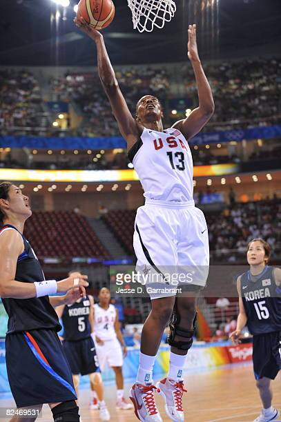 Sylvia Fowles of the U.S. Women's Senior National Team shoots against Korea during their quaterfinal women's basketball game on Day 11 of the Beijing...