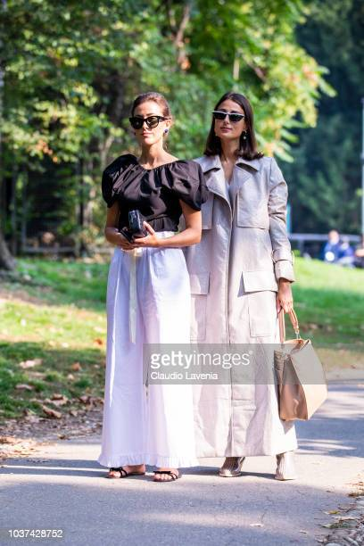Sylvia Haghjoo and Julia Haghjoo are seen after the Tod's show during Milan Fashion Week Spring/Summer 2019 on September 21, 2018 in Milan, Italy.