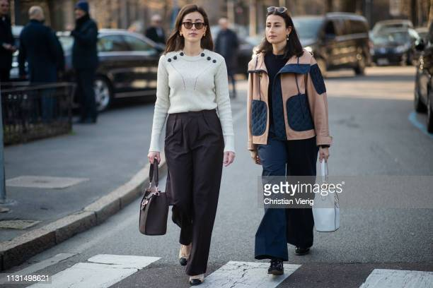Sylvia Haghjoo and Julia Haghjoo is seen outside Tods on Day 3 Milan Fashion Week Autumn/Winter 2019/20 on February 22 2019 in Milan Italy
