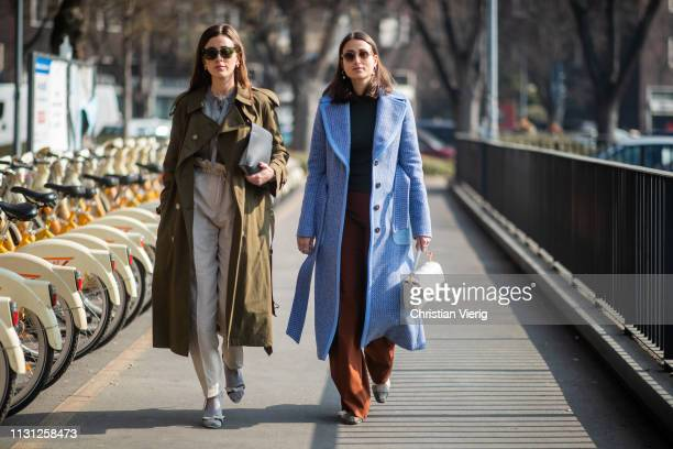 Sylvia Haghjoo and Julia Haghjoo seen outside Fendi on Day 2 Milan Fashion Week Autumn/Winter 2019/20 on February 21, 2019 in Milan, Italy.