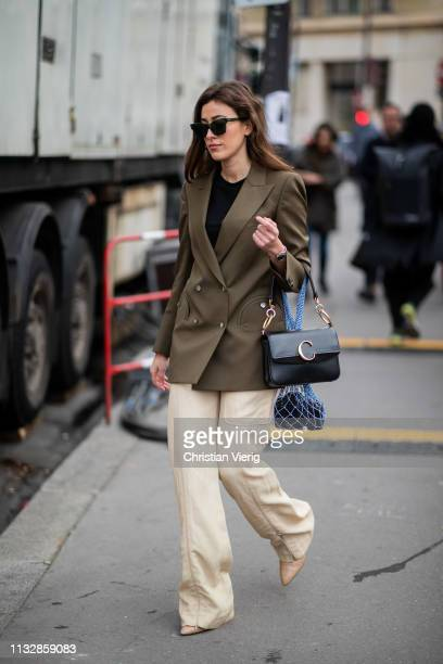 Sylvia Haghjoo is seen outside Chloe during Paris Fashion Week Womenswear Fall/Winter 2019/2020 on February 28 2019 in Paris France