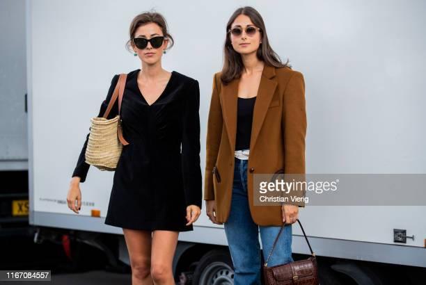 Sylvia Haghjoo is seen wearing black velvet dress and Julia Haghjoo outside Ganni during Copenhagen Fashion Week Spring/Summer 2020 on August 08,...
