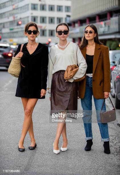 Sylvia Haghjoo is seen wearing black velvet dress Beatrice Gutu and Julia Haghjoo outside Ganni during Copenhagen Fashion Week Spring/Summer 2020 on...