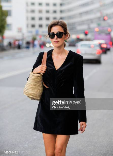 Sylvia Haghjoo is seen wearing black velvet dress outside Ganni during Copenhagen Fashion Week Spring/Summer 2020 on August 08, 2019 in Copenhagen,...
