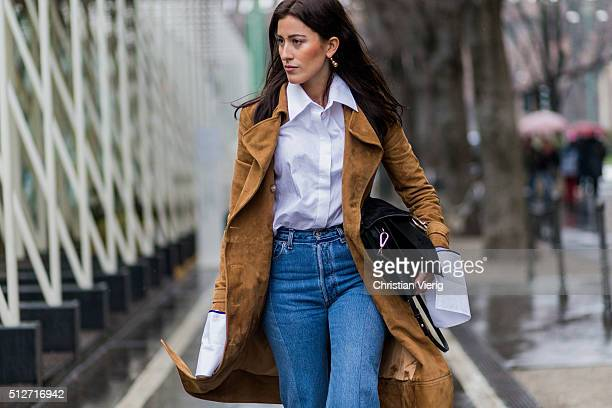 Sylvia Haghjoo wearing Anna Quan white blouse Dimitri jacket a black Chloe bag Isabel Marant shoes Vetements denim jeans seen outside Jil Sander...