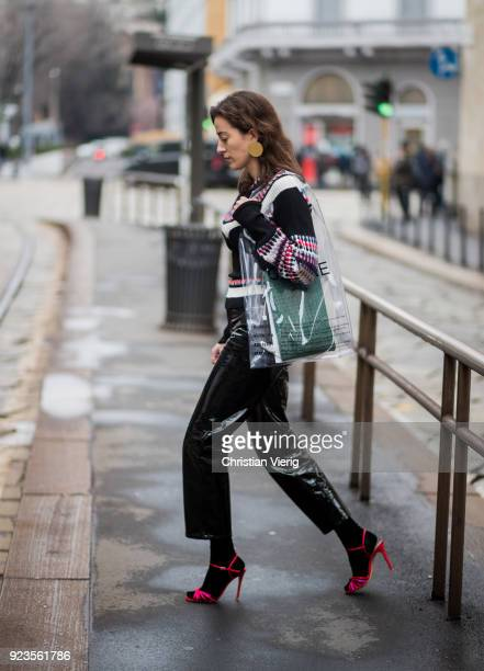 Sylvia Haghjoo wearing see through transparent Celine bag seen outside Sportmax during Milan Fashion Week Fall/Winter 2018/19 on February 23 2018 in...