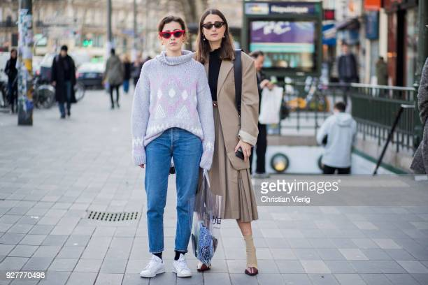 Sylvia Haghjoo wearing transparent plastic bag Celine and Julia Haghjoo is seen outside Sacai during Paris Fashion Week Womenswear Fall/Winter...