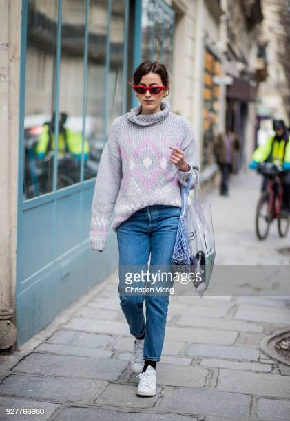 Sylvia Haghjoo wearing transparent plastic bag Celine is seen outside Sacai during Paris Fashion Week Womenswear Fall/Winter 2018/2019 on March 5...
