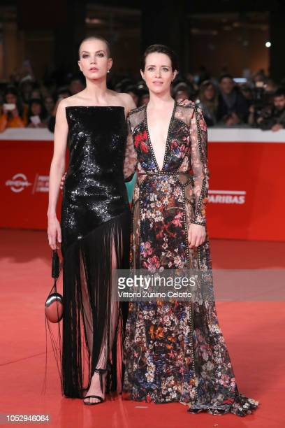 Sylvia Hoeks and Claire Foy walk the red carpet ahead of the The Girl In The Spider's Web screening during the 13th Rome Film Fest at Auditorium...