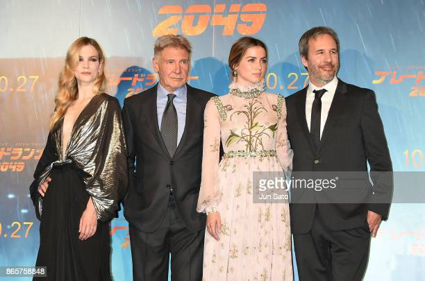 Sylvia Hoeks Harrison Ford Ana de Armas director Denis Villeneuve attend the 'Blade Runner 2049' premier at Roppongi Hills on October 24 2017 in...