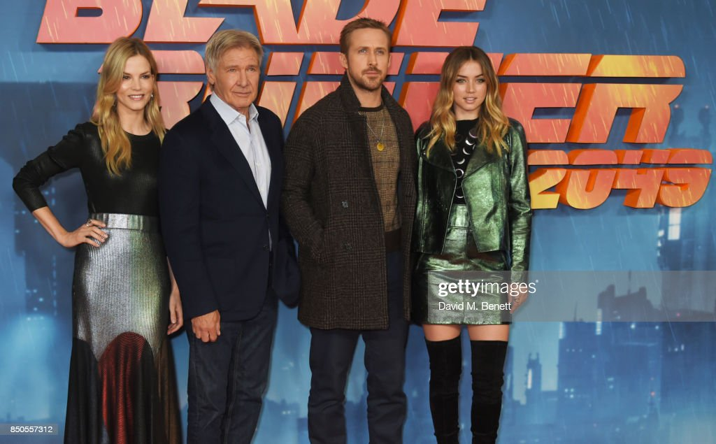 Sylvia Hoeks, Harrison Ford, Ryan Gosling and Ana de Armas attend the 'Blade Runner 2049' photocall at The Corinthia Hotel on September 21, 2017 in London, England.