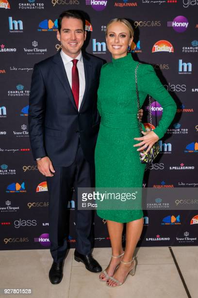 Sylvia Jeffreys and Peter Stefanovic attends the Channel 9 Charity Oscars lunch raising money for the Charlie Teo Foundation at Glass Restaurant, The...