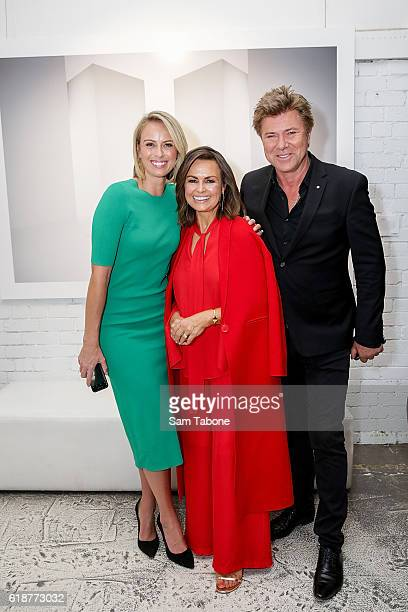 Sylvia Jeffreys Lisa Wilkinson and Richard Wilkins arrive ahead of Lisa Wilkinson's 'Women of Influence' photographic exhibition at SmartArtz Gallery...