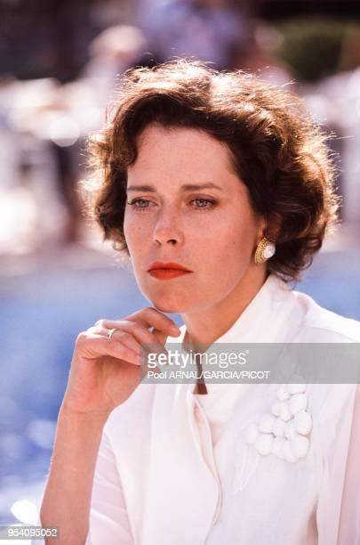 Sylvia Kristel lors du Festival de Cannes en mai 1990, France.