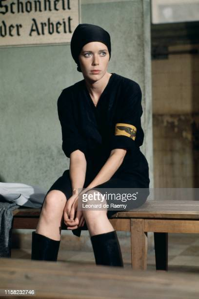 Sylvia Kristel on the set of Rene la Canne directed by Francis Girod 1976