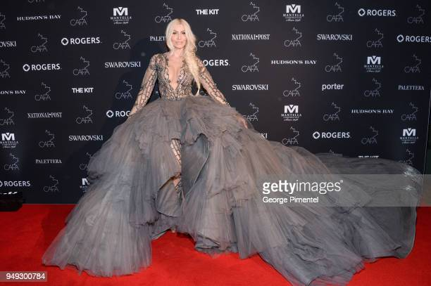 Sylvia Mantella arrives at the 2018 Canadian Arts And Fashion Awards Red Carpet held at the Fairmont Royal York Hotel on April 20 2018 in Toronto...