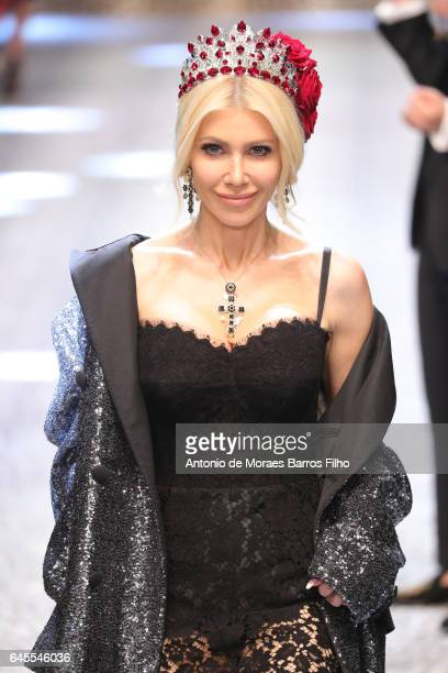 Sylvia Mantella walks the runway at the Dolce Gabbana show during Milan Fashion Week Fall/Winter 2017/18 on February 26 2017 in Milan Italy