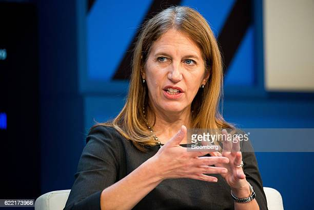 Sylvia Mathews Burwell secretary of the US Department of Health and Human Services speaks during the New York Times DealBook conference in New York...