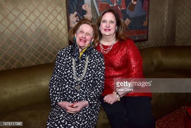 Sylvia Mazzola and Alison Mazzola attend George Farias Anne Jay McInerney Host A Holiday Party at The Doubles Club on December 13 2018 in New York...