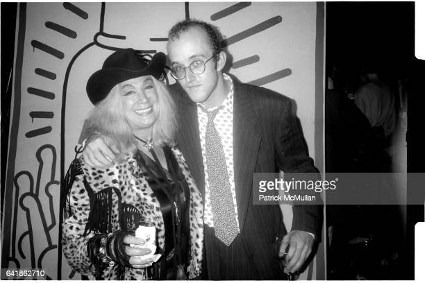 Sylvia Miles and Keith Haring at Absolut Vodka's party for Keith Haring at the Whitney Museum of American Art Thursday October 2 1986