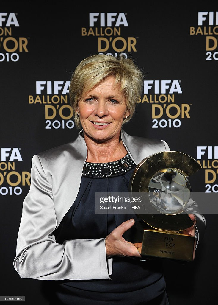 Sylvia Neid, head coach of the German ladies football team with her FIFA ladies coach of the year award at the FIFA Ballon d'Or Gala 2010 t the congress hall on January 10, 2011 in Zurich, Switzerland.