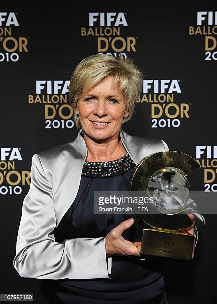 Sylvia Neid head coach of the German ladies football team with her FIFA ladies coach of the year award at the FIFA Ballon d'Or Gala 2010 t the...