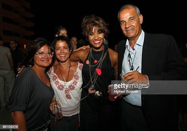 Sylvia Perez Vivian Suarez designer Veronique De La Cruz and Christopher De La Cruz attend the V Del Sol after party during MercedesBenz Fashion Week...