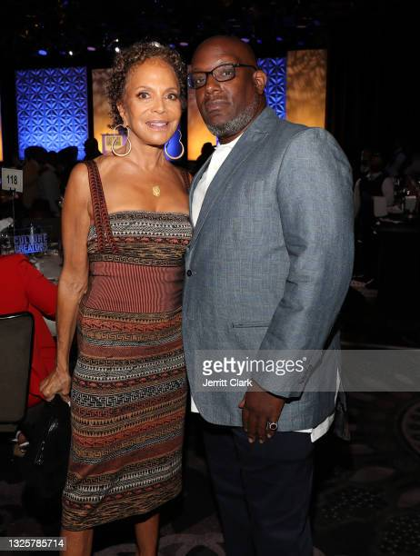 Sylvia Rhone and Wayne Barrow attend the Culture Creators Innovators & Leaders Awards at The Beverly Hilton on June 26, 2021 in Beverly Hills,...