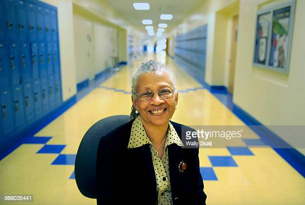 Sylvia Rousseau seated in a hallway at Crenshaw High School was the first black principal of Santa Monica High School in 1993 and is now a consultant...