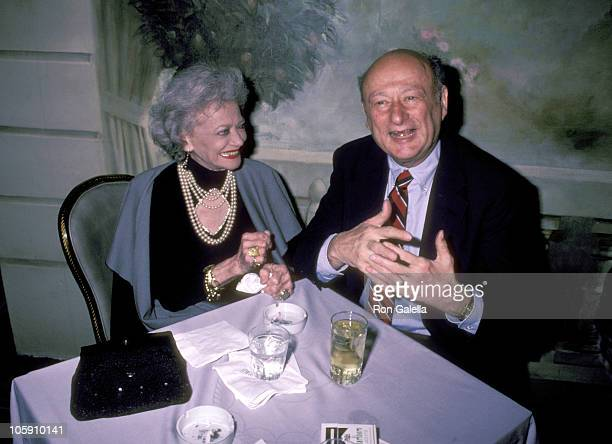 Sylvia Sidney and Ed Koch during American Museum of Motion Pictures Benefit at Pierre Hotel in New York City New York United States
