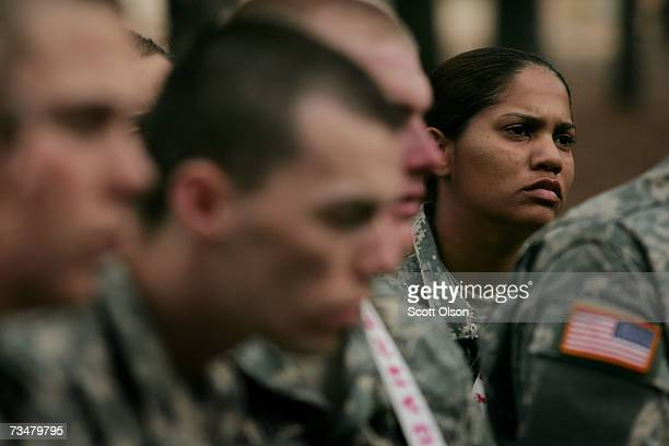 Sylvia Solis of Guaynabo Puerto Rico listens to instructions at a teamwork drill during Army basic training at Fort Jackson March 1 2007 in Columbia...