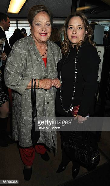 Sylvia Syms and Beatie Edney arrive at the London film premiere of 'Is Anybody There' at the Curzon Cinema Mayfair on April 29 2009 in London England