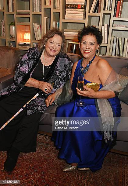 Sylvia Syms and Esther Anderson attend the Voice Of A Woman Awards at the Belgraves Hotel on October 4 2015 in London England