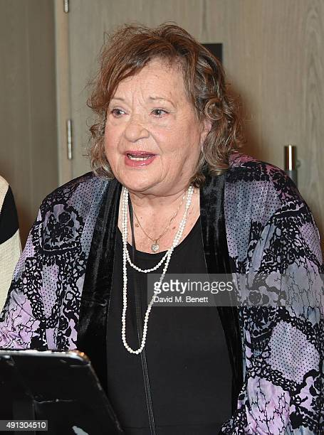 Sylvia Syms speaks at the Voice Of A Woman Awards at the Belgraves Hotel on October 4 2015 in London England
