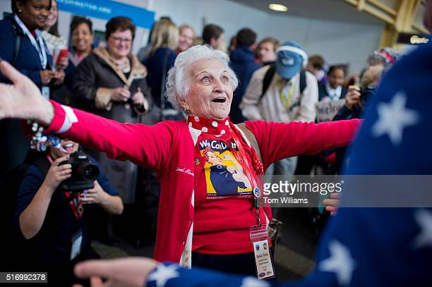 Sylvia Tanis a Rosie the Riveter during World War II arrives with an Honor Flight from Detroit at Reagan National Airport for a tour of DC where the...