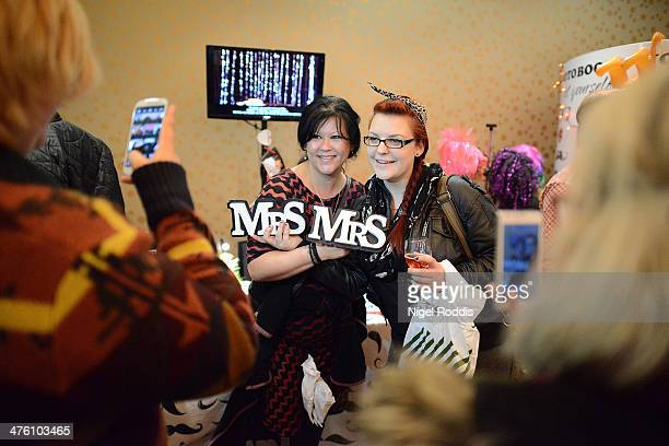 Sylvia Too and Amy Hargreaves shopping for their forthcoming wedding during the Gay Wedding Show at the Queens Hotel on March 2 2014 in Leeds England...