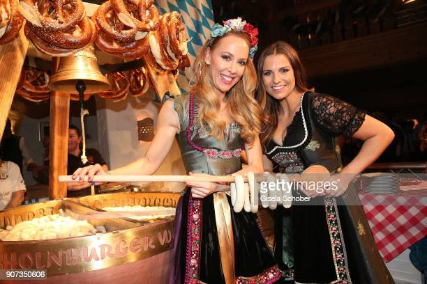 Sylvia Walker and Laura Wontorra during the 27th Weisswurstparty at Hotel Stanglwirt on January 19 2018 in Going near Kitzbuehel Austria